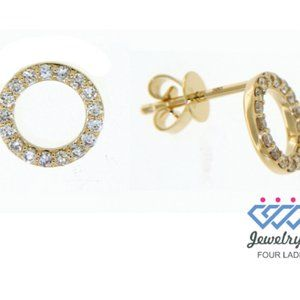 Solid Diamond FancyRound Stud Earrings Yellow Gold